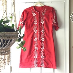 Vintage 60's Red Embroidered Mini Dress